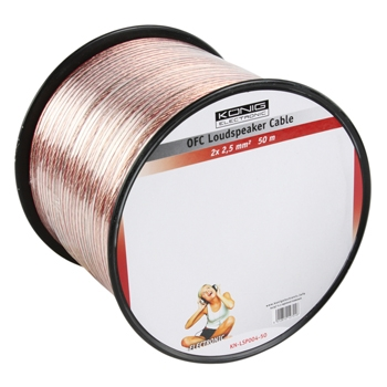 König KN-LSP04R-50 - OFC reproduktorový kabel 2x 2.5 mm, cívka 50m, transparentn