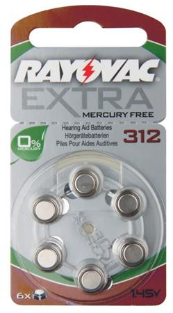 Rayovac H312MF (312A, 7.9 x 3.6 mm) - 6 ks, blistr