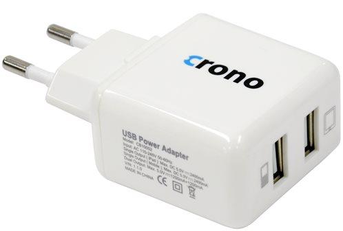 Crono univerzální USB nabíječka, 2x USB, 2400 mA, bílá
