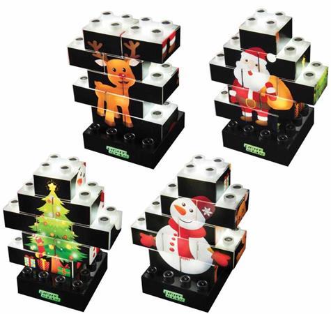 LIGHT STAX Puzzle Xmas Set - vánoční puzzle s 10 svítícími kostkami + základna
