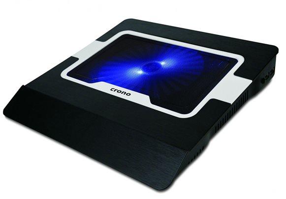 """Crono CB156 - aktivní chladící podložka pro notebook do 15.6"""", modré LED podsvíc"""