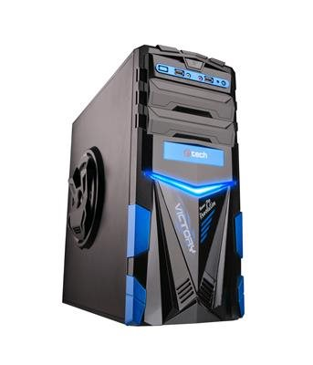 C-TECH PC herní skříň ARES (GC-02), miditower, černo-modrá