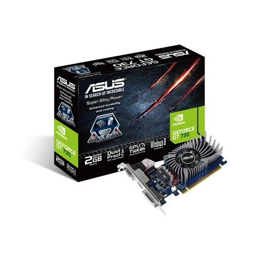 ASUS GT730-2GD5-BRK, NVIDIA GeForce with CUDA GT 730, 2GB GDDR5, PCIe 2.0, DVI-D