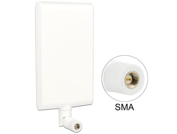 Delock LTE anténa SMA 1 ~ 4 dBi směrová otočná s flexibilním kloubem - bílá