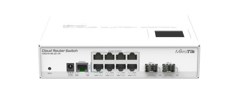 MikroTik CRS210-8G-2S+IN, Atheros QC8519 CPU, 64MB RAM, 8xGLAN, 2xSFP+, ROS L5,