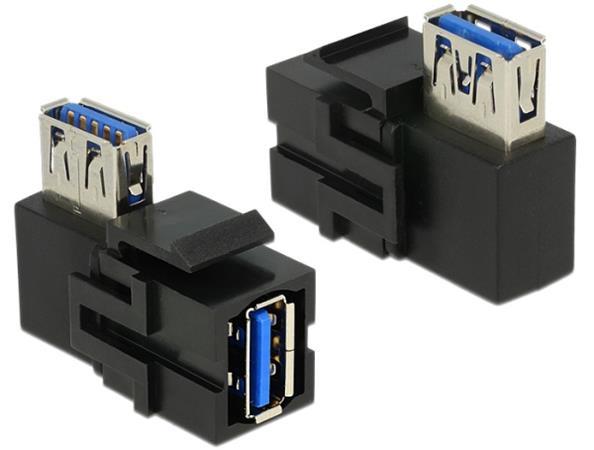 Delock Keystone Module USB 3.0 A female > USB 3.0 A female 90° angled black