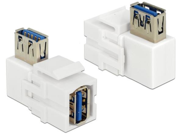 Delock Keystone module USB 3.0 A female > USB 3.0 A female 90° angled white