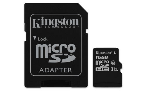 KINGSTON 16GB microSDHC Memory Card 45MB/10MBs- UHS-I class 10 Gen 2