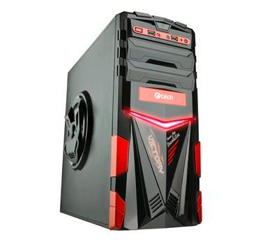 C-TECH PC herní skříň ARES (GC-02), miditower, černo-červená