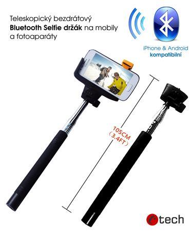 C-TECH teleskopický selfie držák MP107B pro mobil, monopod, Bluetooth dálková sp