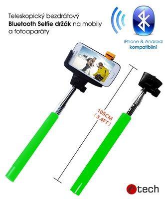 C-TECH teleskopický selfie držák MP107G pro mobil, monopod, Bluetooth dálková sp