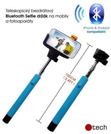 C-TECH teleskopický selfie držák MP107M pro mobil, monopod, Bluetooth dálková sp