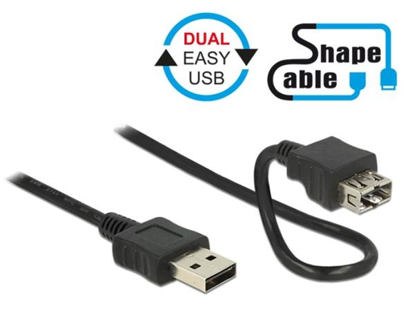 Delock Cable EASY-USB 2.0 Type-A male > EASY-USB 2.0 Type-A female ShapeCable 0.