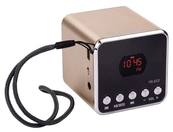 emGo TR533G soundbox - rádio, MP3, USB, microSD přehrávač, Bluetooth, zlatá