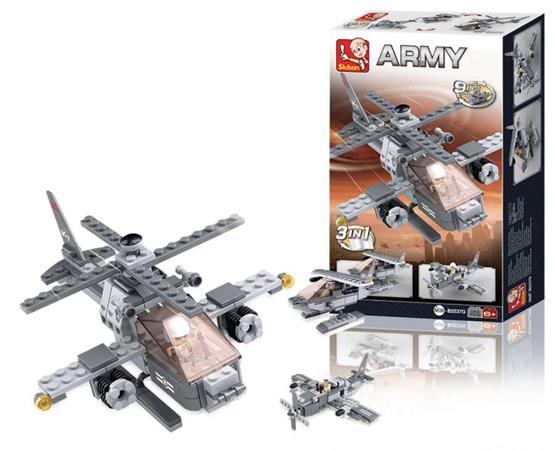 Sluban M38-B0537G - Aircraft Carrier Series - Attack Helicopter 3-in-1