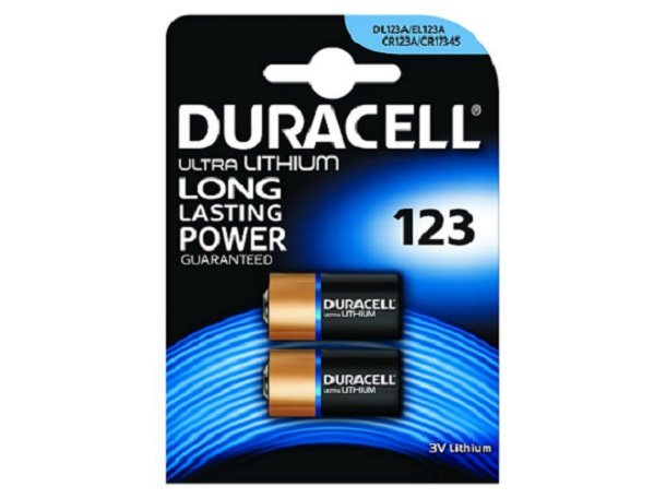 DURACELL Baterie - 123A 3V Lithium Battery, 3 V, 1500 mAh - 2 pack