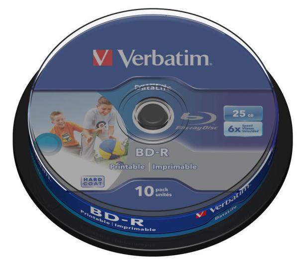 VERBATIM BD-R 25GB 6x HTL WIDE PRINTABLE spindle 10pck/BAL