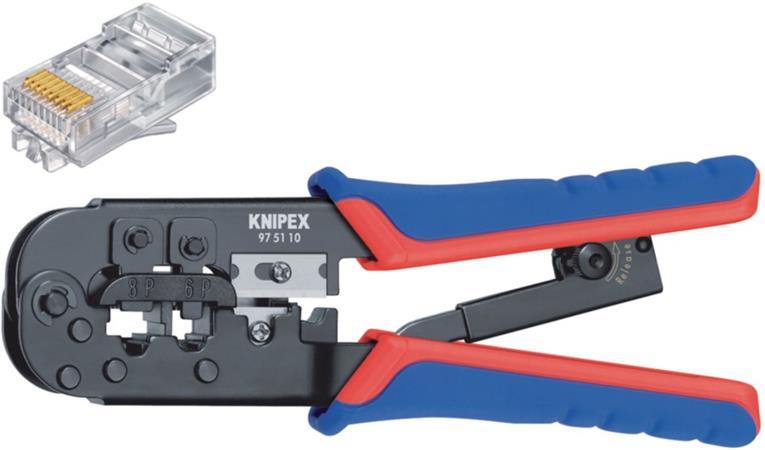 Knipex 97 51 10 SB - Krimpovací pákové kleště  RJ11/12 (6-pin) 9.65 mm, RJ45 (8-