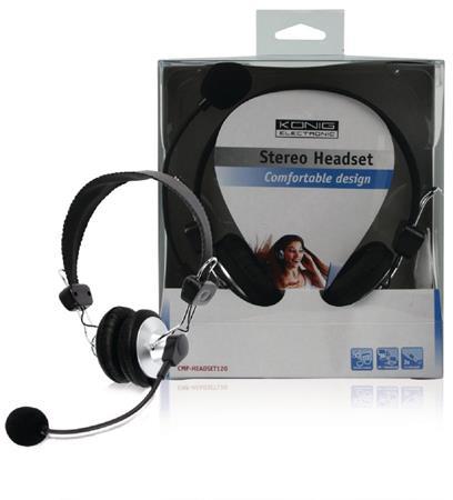 König CMP-HEADSET120 - Headset Na Uši 2x 3.5 mm Vestavěný Mikrofon, černá