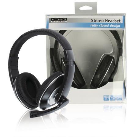 König CMP-HEADSET130 - Headset Přes Uši 2x 3.5 mm Vestavěný Mikrofon, černá