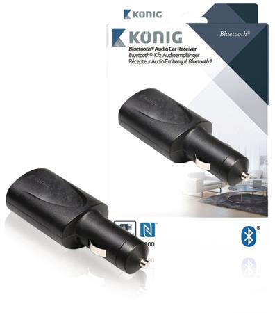 König CSBTCRCVR100 - Bluetooth audio přijímač do auta, Jack 3.5 mm, černá