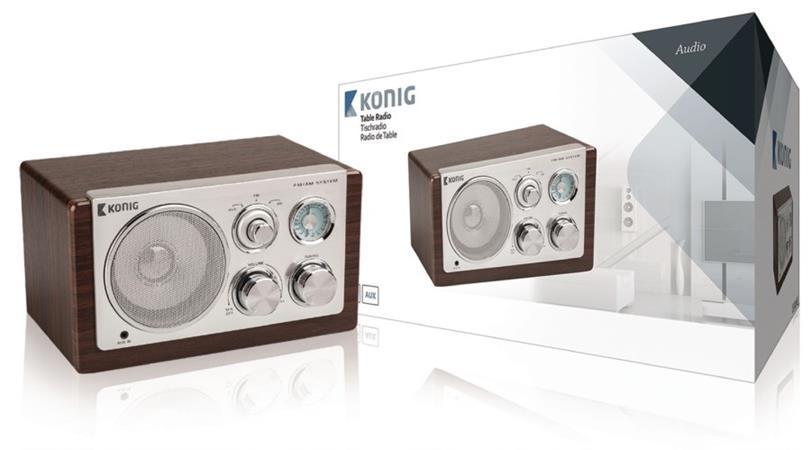 König HAV-TR1000 - Stolní rádio Retro FM / AM 3 W Hnědá