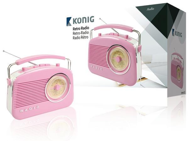 König HAV-TR710PI - Přenosné FM rádio FM / AM Růžová