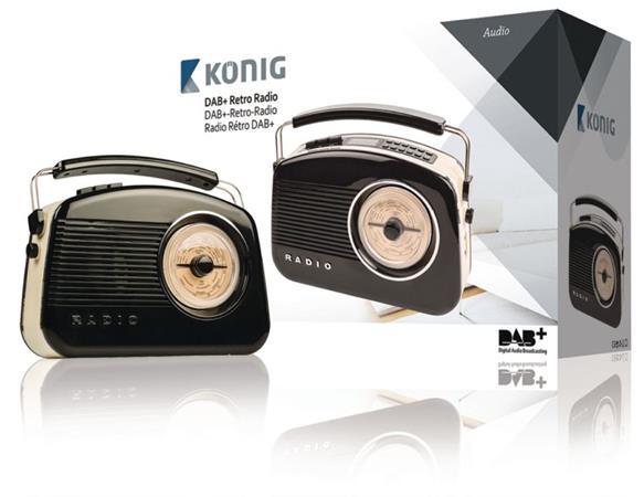 König HAV-TR900BL - Přenosné DAB+ rádio FM / AM / DAB / DAB+ AUX, černá