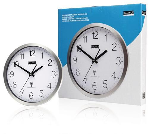 Balance HE-CLOCK-89 - Rádiem Řízené Nástěnné Hodiny 30 cm Analogový Stříbrná/Bíl