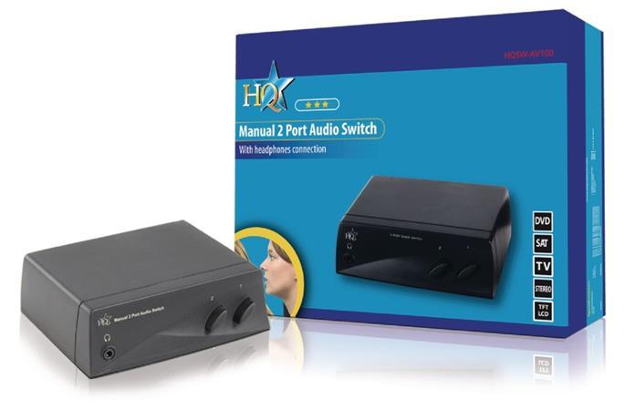 HQ HQSW-AV100 - Reproduktorový Přepínač 2x (2x RCA zásuvka) - 2x RCA zásuvka, če