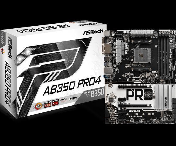 ASROCK MB AB350 PRO4 (AM4, amd B350, 4xDDR4, PCIE, 6xSATA3 +M.2, VGA +DVI+HDMI,