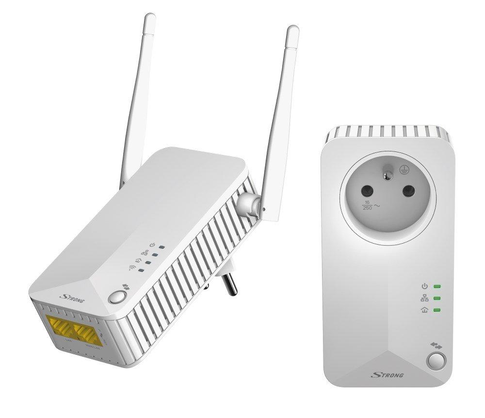 STRONG sada 2 adaptérů Powerline WF 500 DUO FR/ Powerline 500 Mbit/s/ Wi-Fi 300