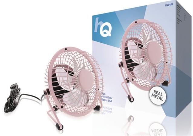 HQ FN04PI - Stolní USB ventilátor 10 cm, 2.5 W, růžový