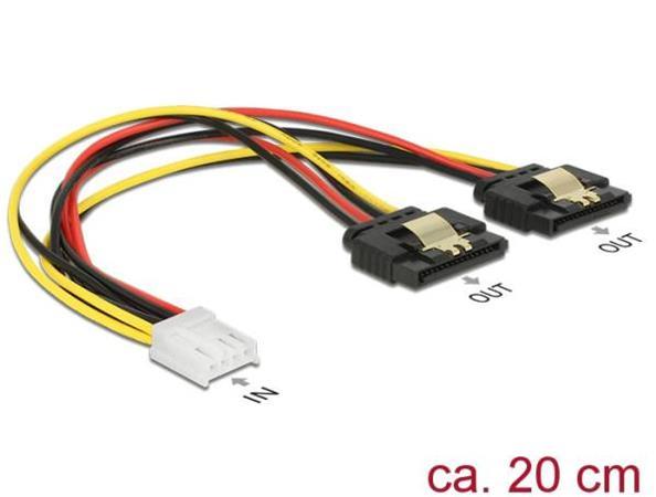 Delock Napájecí kabel Floppy 4 pin samice > 2 x SATA 15 pin samice kovová spona
