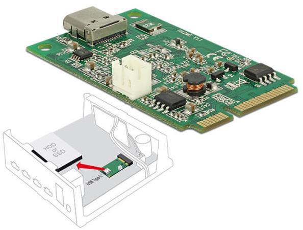 Delock Mini PCIe I/O PCIe full size 1 x USB Type-C™ 3.1 Gen 2 samice