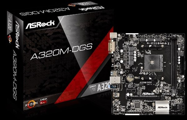 ASROCK MB A320M-DGS (AM4, amd A320, 2xDDR4, PCIE, 4xSATA3 + Ultra M.2, USB3.1, D