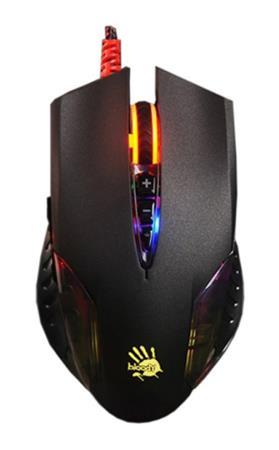 A4tech BLOODY Q50 herní myš, 3200DPI, USB,3 druhy podsvícení,metalické podložky,