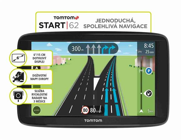 "TomTom VIA 62 Europe, LIFETIME mapy, 6"" displej"
