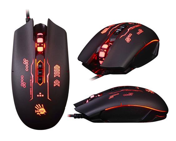 A4tech BLOODY Q80B herní myš, 3200DPI, USB, gunfire,3 druhy podsvícení,metalické