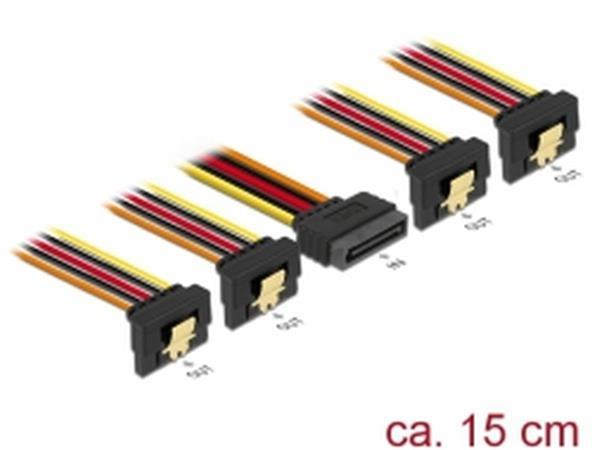 Delock Kabel SATA 15 pin napájecí samec s aretací > SATA 15 pin napájecí samice