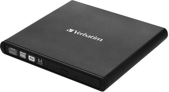 VERBATIM External Slimline CD/DVD Writer, 8× DVD, 24× CD, M-Disc, USB 2.0, SW Ne
