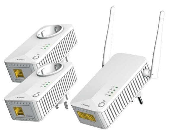 STRONG sada 3 adaptérů Powerline WF 500 DUO FR/ Powerline 500 Mbit/s/ Wi-Fi 300