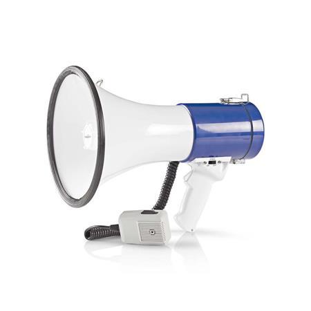 Nedis MEPH200WT - Megafon | 25 W | Dosah 1 500 m | Odpojitelný Mikrofon | Bílá /