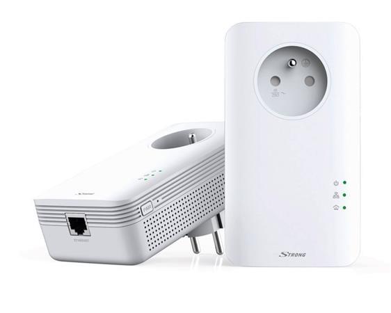 STRONG sada 2 adaptéru Powerline 1300 DUO FR/ 1300 Mbit/s/ 1x LAN/ bílý