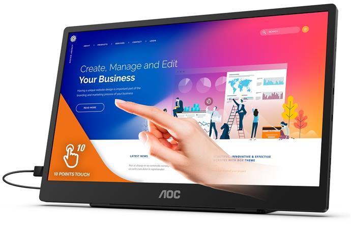 "AOC LCD dotykový 16T2 15,6"" IPS/1920x1080@60Hz/4ms/250cd/700:1/50M:1/microHDMI/2"